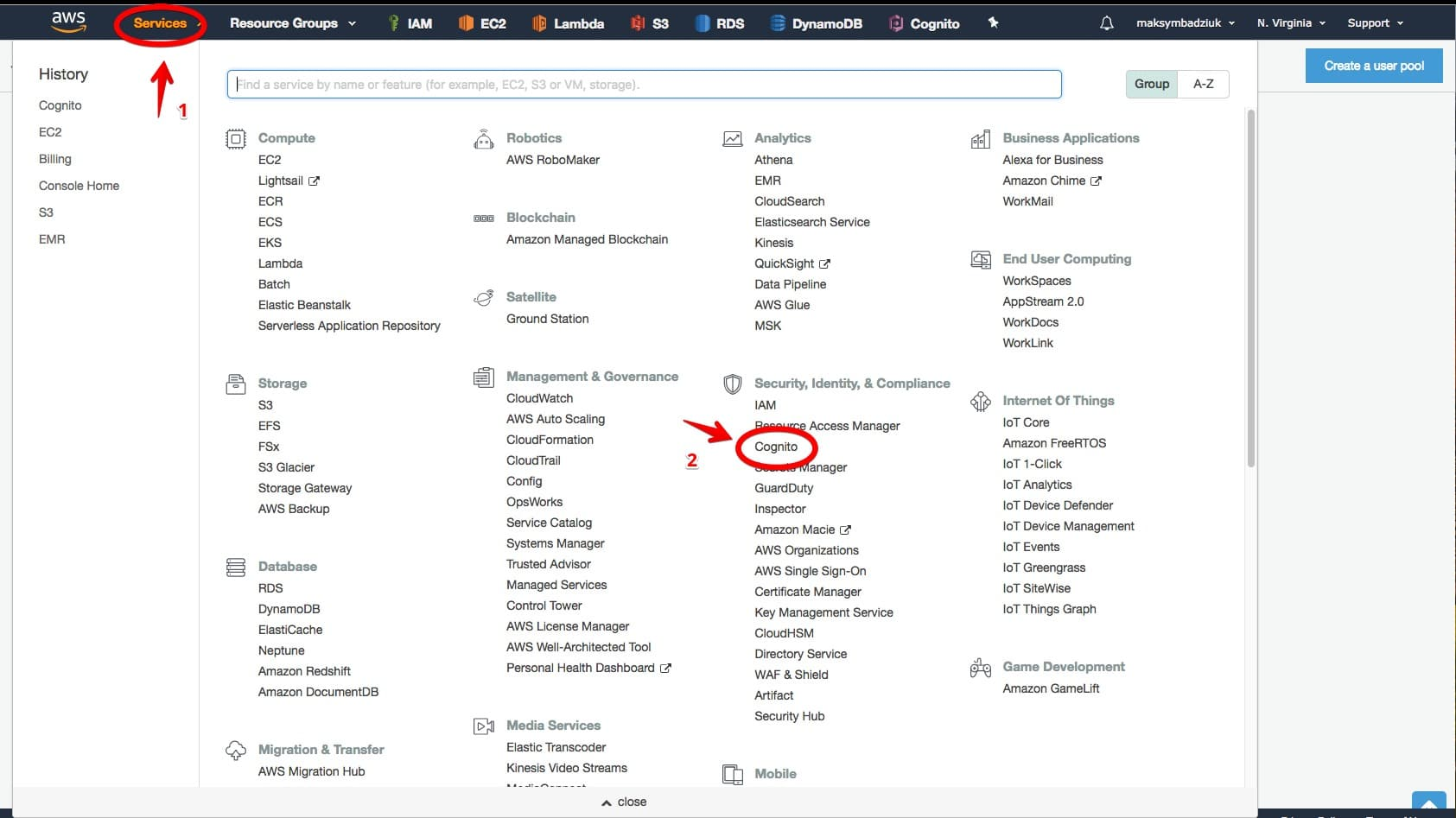AWS Cognito Step-by-Step Set-Up