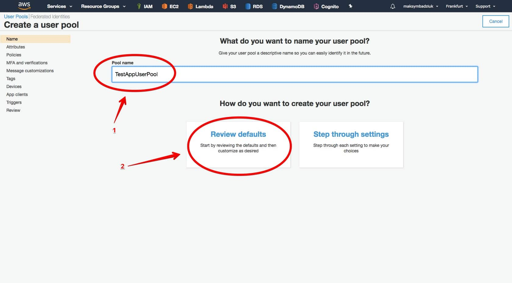 AWS Cognito step-by-step create user pool