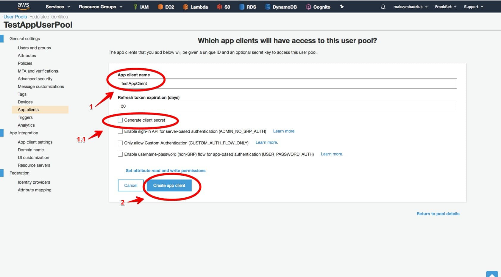 AWS Cognito step-by-step Client application
