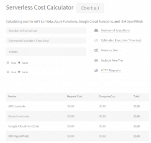 Serverless Vendors cost comparison